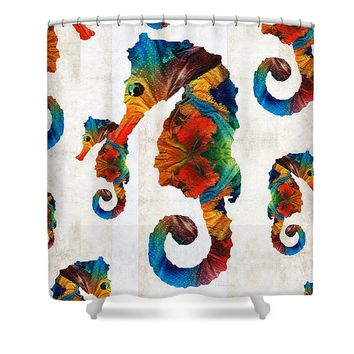 Colorful Seahorse Collage Art By Sharon Cummings Shower Curtain