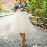Fashion Adorable Off White Tutu Tulle Skirt