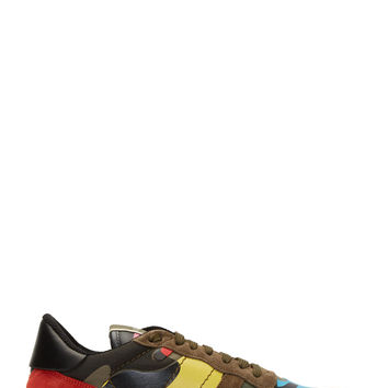 Valentino Khaki Multicolor Suede And Leather Patchwork Sneakers