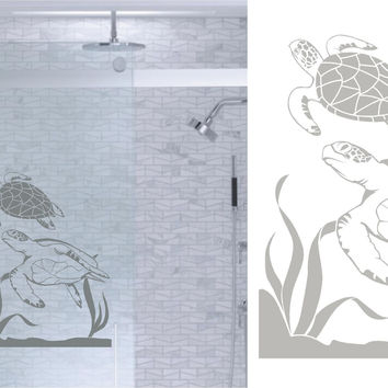 Sea Turtles Ocean DIY Etched Glass Vinyl Window Films Shower Door Bathroom Decor