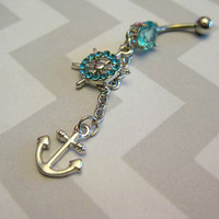 Anchor Dangle Belly Button Ring with Turquoise rhinestones and stone