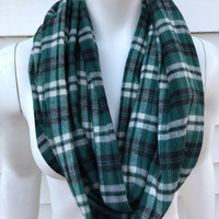 Green Christmas Plaid Infinity Scarf-Philadelphia Eagles Flannel Scarf-Women's Handmade Winter Chunky Scarf-Accessories Gifts For Her-