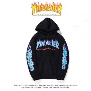 THRASHER Flame sweater Hoodie Tide men and women on the streets of long-sleeved loose-fitting sleeve jacket personality Black