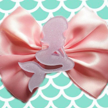 Pastel Pink Purple Mermaid Hair Bow Hairbow Sweet Lolita Pastel Goth Gothic Glitter Resin Glittery Kawaii Fairy Kei Tumblr Disney Inspired