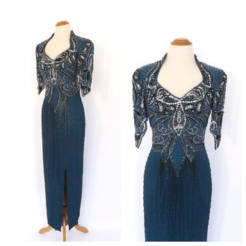 Vintage 1980s Abstract Art Chevron Beaded Dress Teal Blue Beaded Maxi Gown Backless Party Dress Great Gatsby Flapper 1930s Art Deco Gown