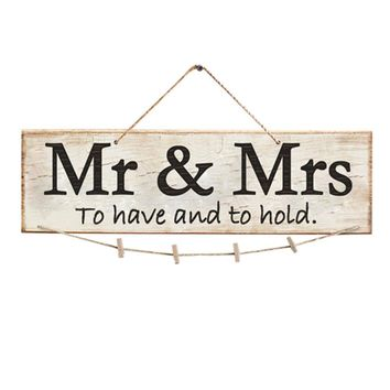 1pc Retro Mr & Mrs To have and to hold Wooden Wedding Photo Clip Photo Holder Sign Board Wall Hanging Ornament Home Decorations