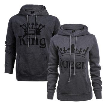 Knitted King and Queen Printed Hoodies