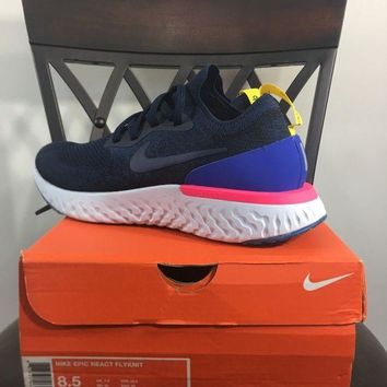 Gotopfashion Nike Epic React Flyknit Blue Red White AQ0067-400 Size 8.5 College Navy Limited?