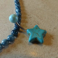 Turquoise Stone Star belly Button Navel Ring Body Jewelry