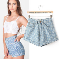 Women's Fashion High Rise Print Denim Shorts [4919612676]