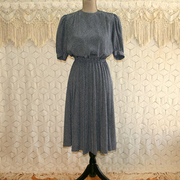 90s Navy Blue Pleated Dress Petite Short Sleeve Midi Day Dress Puff Sleeves Blouson Liz Claiborne Small Vintage Clothing Womens Clothing