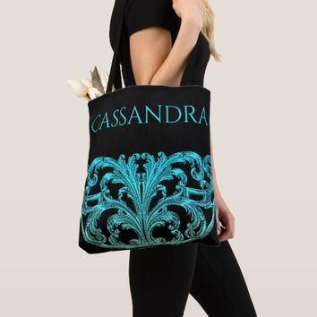 Unique Vintage Swirl Ombre Blue Personalized Tote Bag