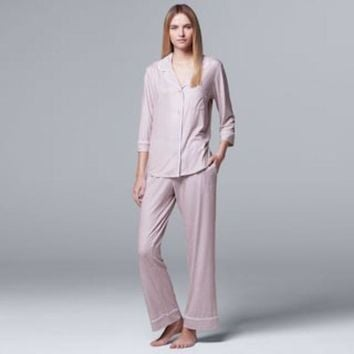 CREY7GX Women's Simply Vera Vera Wang Pajamas: Flirting With Autumn Top & Pant PJ Set | null