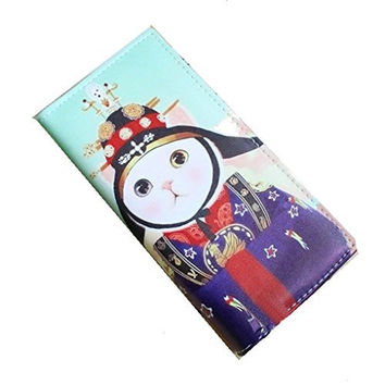 "Samuri ""Cat"" Fold Over Snap Wallet (zipper, Cards, 5 Compartments)"