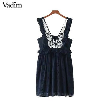 Women Sweet Ruffles Floral Embroidery Dress Sexy V Neck Sleeveless Backless Ladies Fashion Mini Dresses