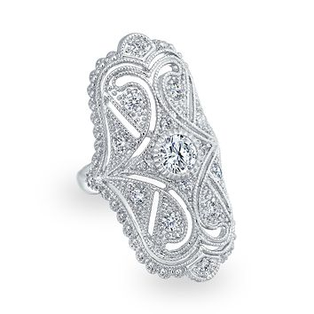 Deco Filigree Pave CZ Wide Armor Full Finger Ring Rhodium Plated Brass