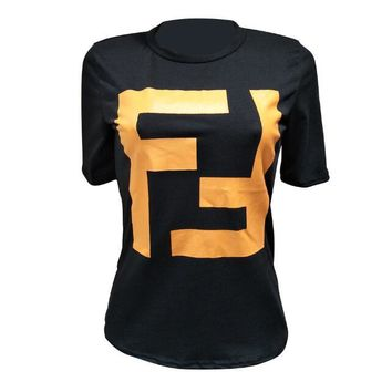 FENDI Fashionable Women Casual Double F Letter Round Collar T-Shirt Top