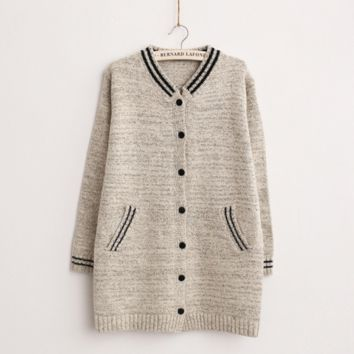 Single Breasted Striped Ribbed Cardigan Sweater