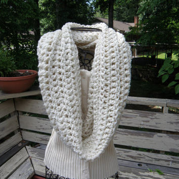 READY TO SHIP Limited Edition Off White Cream Ivory 44 X 19 Oversized Hooded  Handmade Crochet Infinity Scarf Cowl Neck Warmer 176