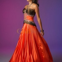 Vintage A-line Halter Beaded Pleated Taffeta Evening Dress - US$180.99 - Goldwo.com
