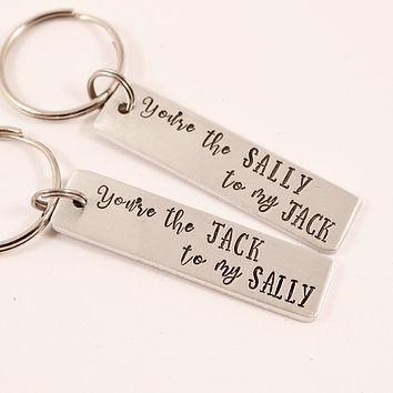 You're the Jack to My Sally You're the Sally to my Jack - Nightmare Before Christmas Inspired Keychains