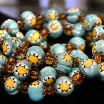 1940s Venetian Murano Millifiori Necklace Art Glass Hand Rolled Bead Antique Beaded Necklace Italian Italy Blue Yellow Amber Spacers Artisan