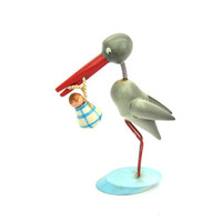 Stork Delivery. Baby Boy. Baby Shower. Centerpiece. Cake Topper. Vintage Painted Wood Figure. Made in Spain. Bobble Head.
