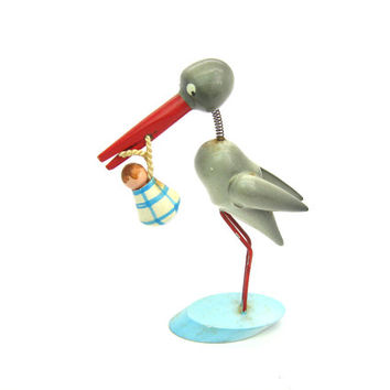Stork Carrying Baby Cake Topper