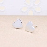 925 sterling silver small heart earrings with sterling silver post