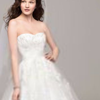 Strapless Tulle Ball Gown with Beaded Appliques - Davids Bridal
