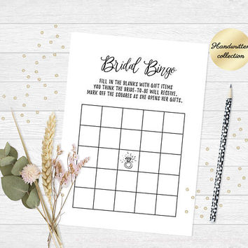 Bingo cards, Printable bridal shower bingo game, Printable bingo cards, Bridal bingo, Gift bingo, Wedding bingo cards 5x7, Wedding downloads
