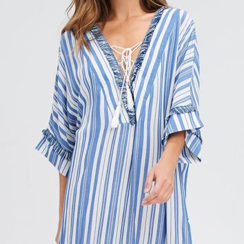Sea Mist Blue White Vertical Stripe Pattern Beach Cover Up 3 4 Short Sleeve  V c27a7c182