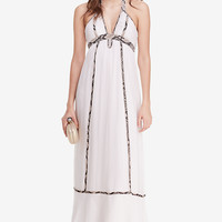 DVF Sakara Snake Trim Chiffon Maxi Dress