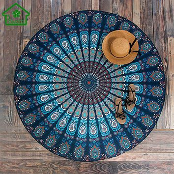 150cm Round Wall Hanging Indian Mandala Tapestry Vintage Boho Beach Throw Towel Bedspread Yoga Mat Tablecloth Picnic Mat Decor