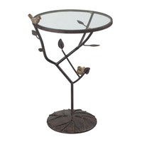Kimberly-Birds On A Branch Accent Table Bronze With Red Undertone,Birds Are Gold With White Antique