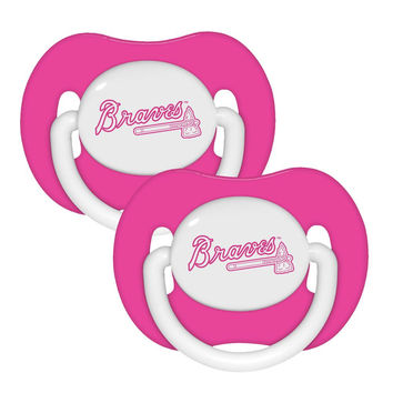 2 Pack Pink Pacifiers - Atlanta Braves