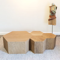 Hexagon Wood Modern Geometric Table- Walnut