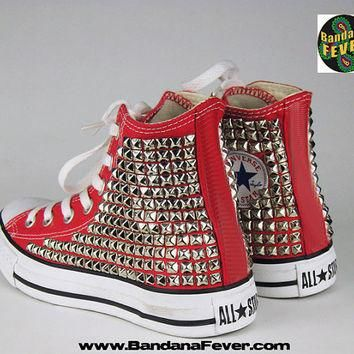 Bandana Fever Custom Studded Red Converse All-Star Chuck Taylor Hi Silver Pyramid Stud