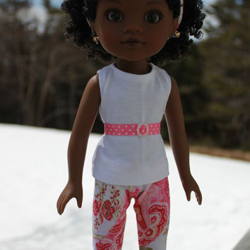 Hearts 4 Hearts doll clothes, 4 piece set!  white tank top, paisley print leggings, matching headband, pink ribbon belt