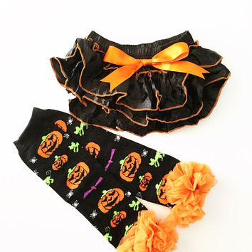 Baby Halloween Bloomers with Matching Leg Warmers - Halloween Diaper Cover, Ruffle Bloomers, Black Diaper Cover, Baby Halloween Outfit