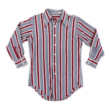 Vintage Geometric Striped Shirt in Red, Blue and White - Button Down 70's Burgundy Oxford Dress Shirt - Men's Size 15 Medium Med M