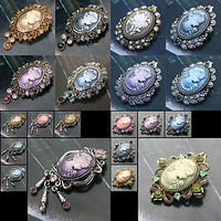 VARiOUS Lovely Crystal Vintage Lady Cameo Pin Brooch /COZ1