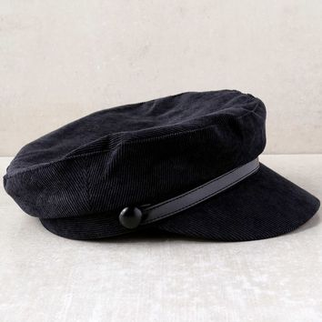 Tip Top Black Corduroy Baker Boy Cap