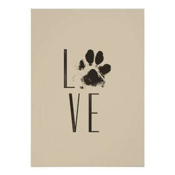 Love with Pet Paw Print Brown Grunge Typography