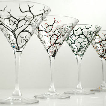 The Four Seasons Martini Glasses--4 Piece Collection--Hand Painted Glasses