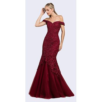 Off-Shoulder Mermaid Style Long Prom Dress Burgundy