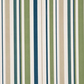 Baker Lifestyle Fabric PF50335.6 West Green Stripe Leaf/Teal/Natural