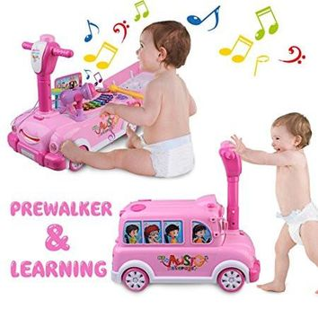 Ride-On Car 2-in-1 Adjustable Music Activity Walker Mini Bus Play Toy With Lights & Sounds