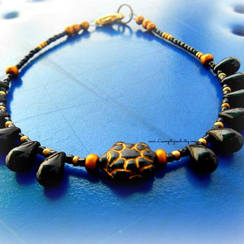 Black Sea Turtle Anklet, Sea Turtle Anklet Jewelry, Charm Anklet, Ankle Bracelet, Beaded Anklet, Ready to Ship, Direct Checkout
