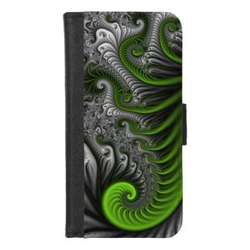 Fantasy World Green And Gray Abstract Fractal Art iPhone 8/7 Wallet Case